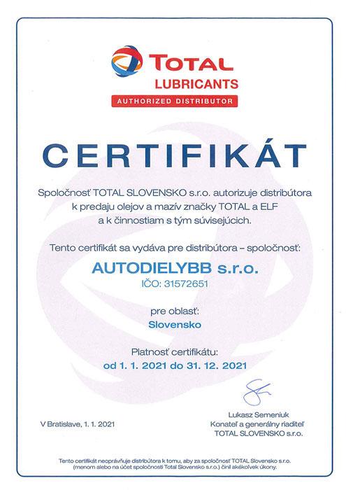 Certifikát TOTAL